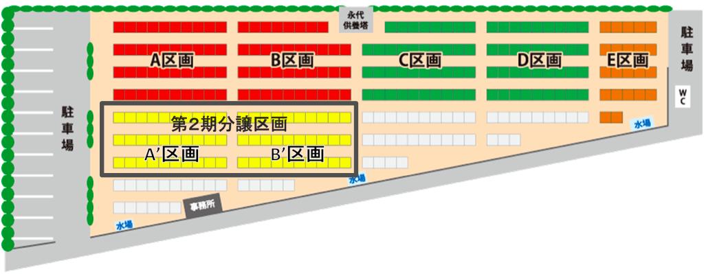 うしお霊園第2期分譲区画図